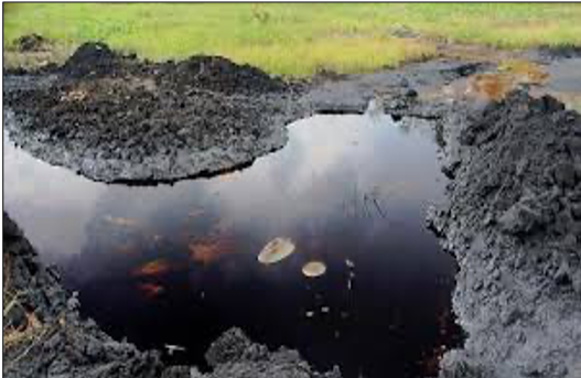 An Oil spill in the Niger Delta (The Nigerian voice, 2018)